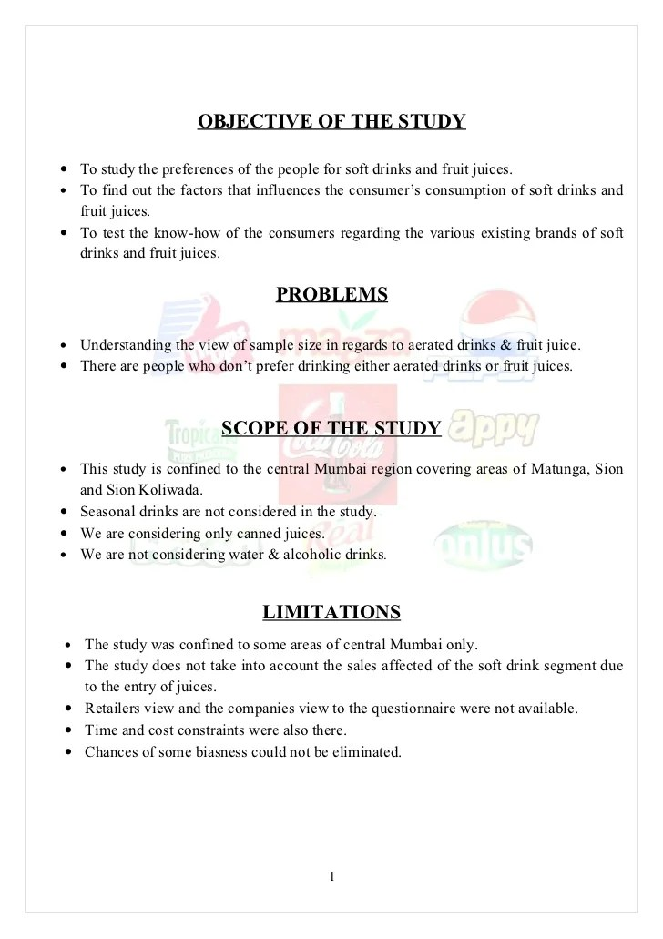 COMPARATIVE STUDY ON CONSUMPTION PATTERNS OF SOFT DRINKS