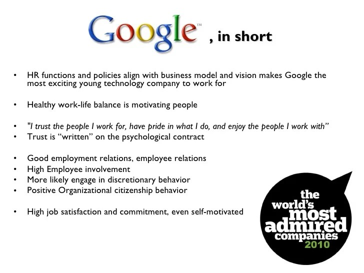 Human Resource Management Issues At Google