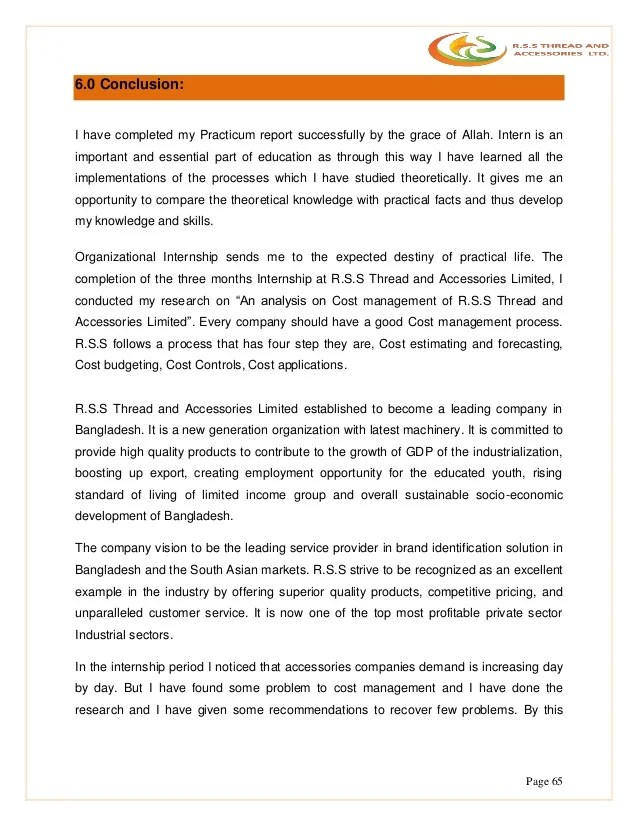 Internship Practicum Report IUBAT RSS Thread & Accessories Ltd Fin