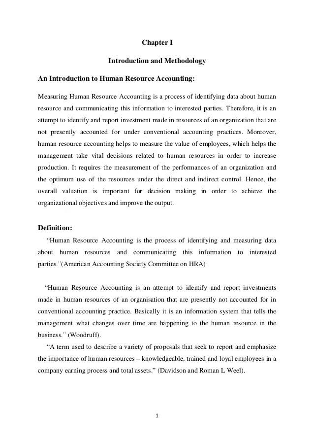 Dissertation on Human Resource Accounting in Airlines industry in Ind
