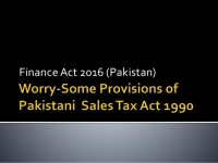 Finance act 2016 (Pakistan) Worry-Some Provisions of Sales ...