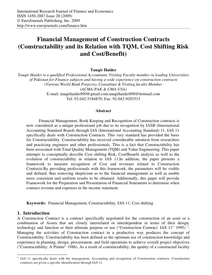 Financial Management Of Construction Contracts