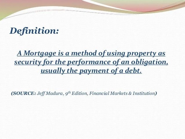Mortgage Markets Financial Markets Institution