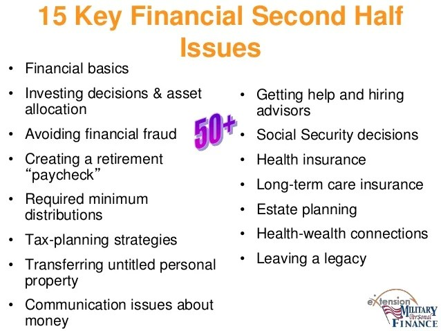 Financial Planning for the Second Half of Life