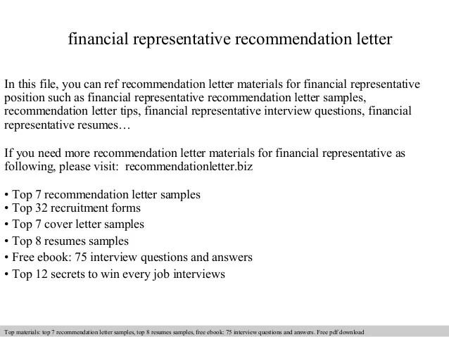 Financial Representative Recommendation Letter