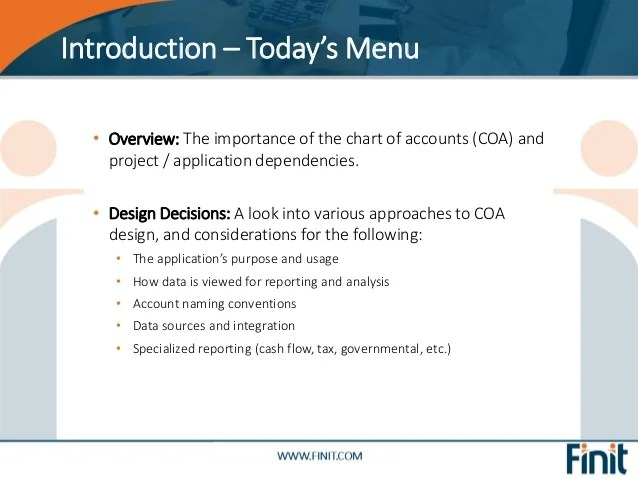 Introduction  the whats and whys overview importance of chart accounts also finit all things rh slideshare