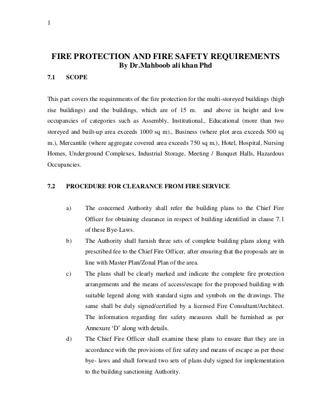 FIRE PROTECTION AND FIRE SAFETY REQUIREMENTS By Dr Mahboob