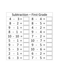First Grade Subtraction Worksheets For 1 Minute Test ...