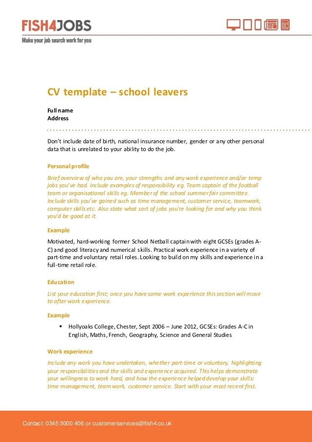 Fish4jobs CV Template for School Leavers
