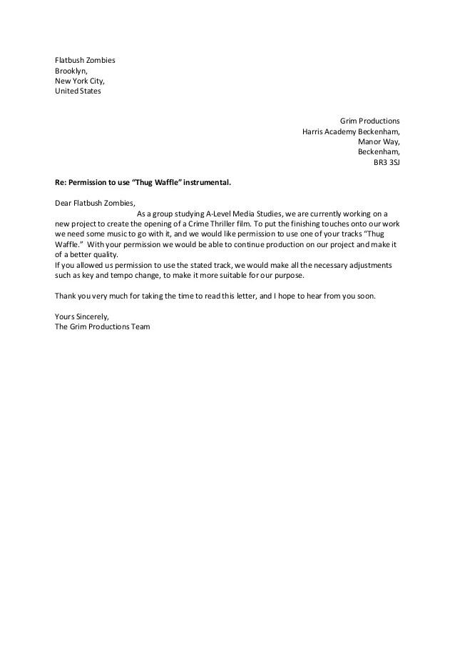 Flatbush Zombies Permission Letter