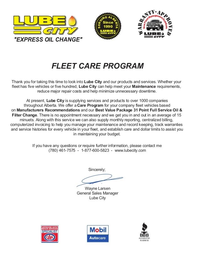 Fleet Services  Fleet Care Letter
