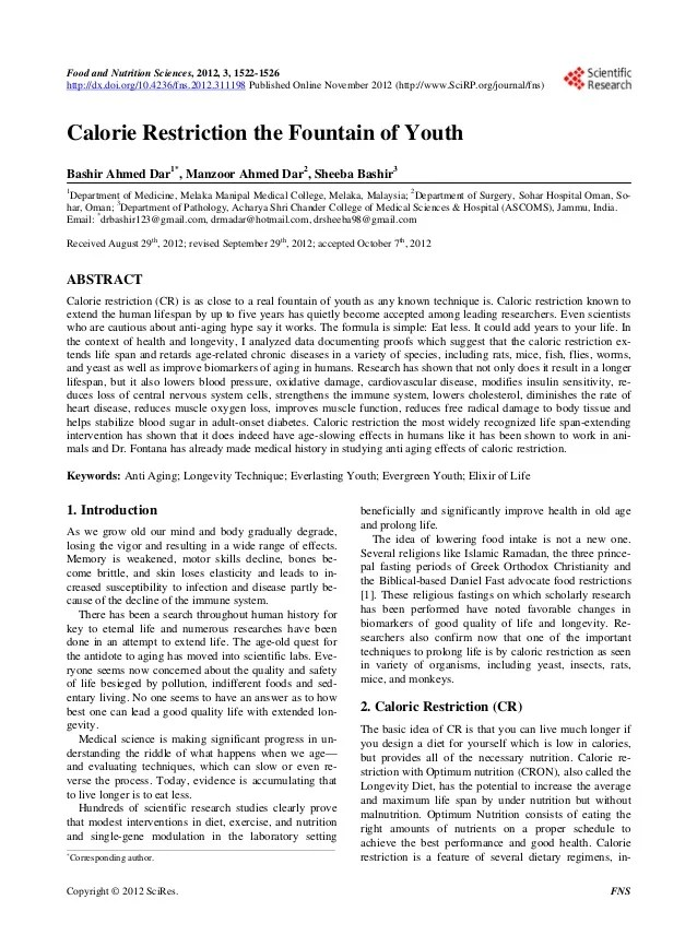 A Research Article Fountain Of Youth By Prof Dr Bashir