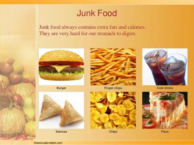 Junk food also environmental science evs we eat class ii rh slideshare