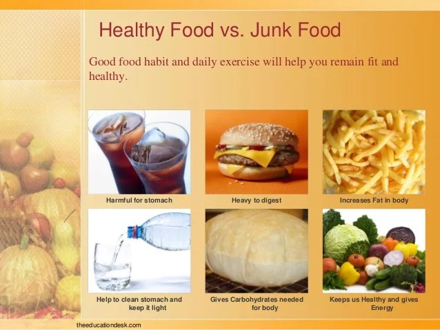 healthy food vs junk also environmental science evs we eat class ii rh slideshare