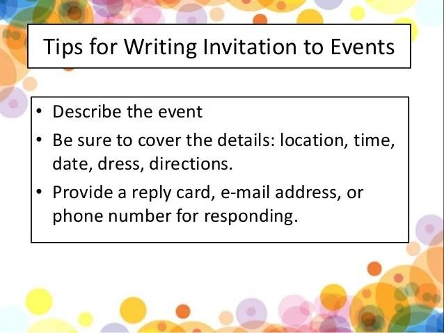 formal and informal invitation kls 11