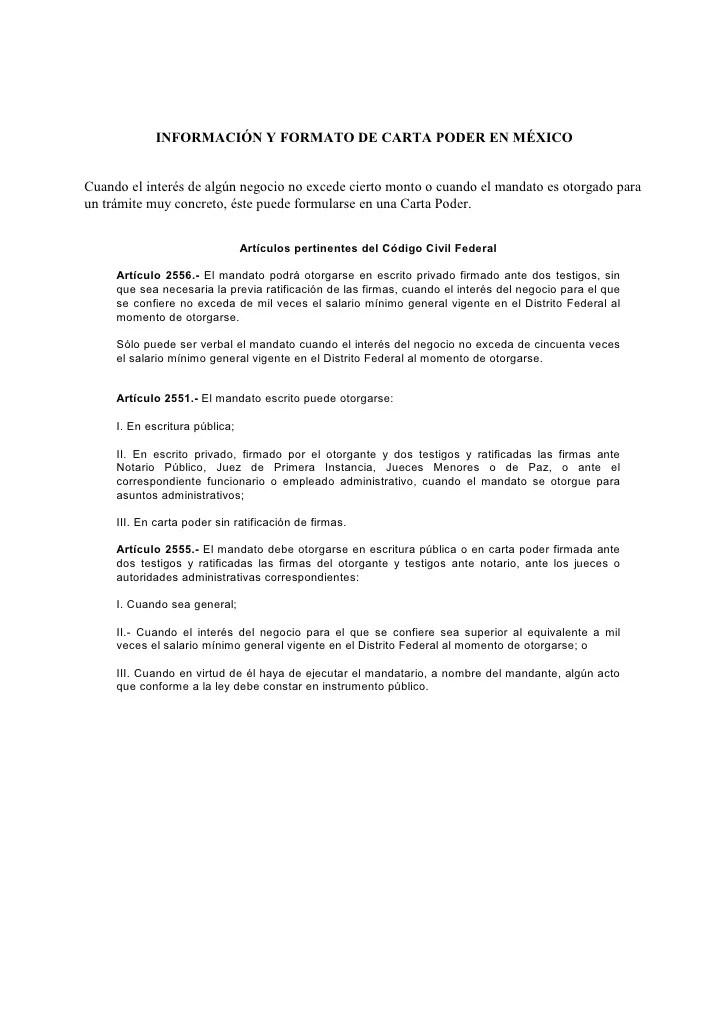 Carta Poder Formatos y Ejemplos