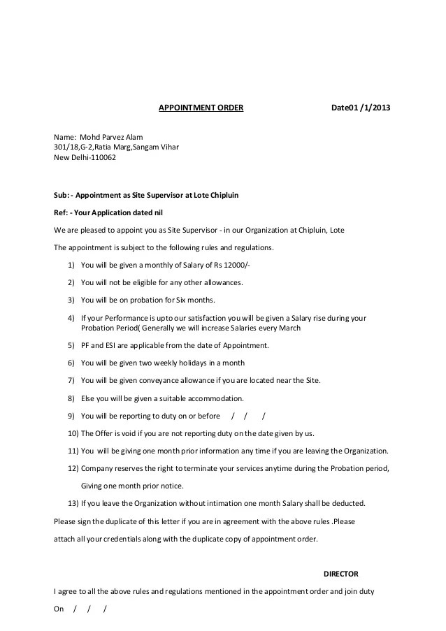 Format Of Appointment Order