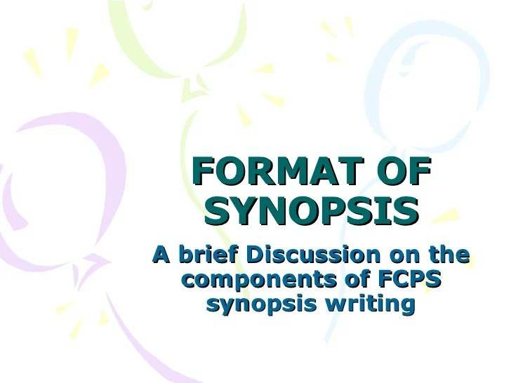 Format Of Synopsis