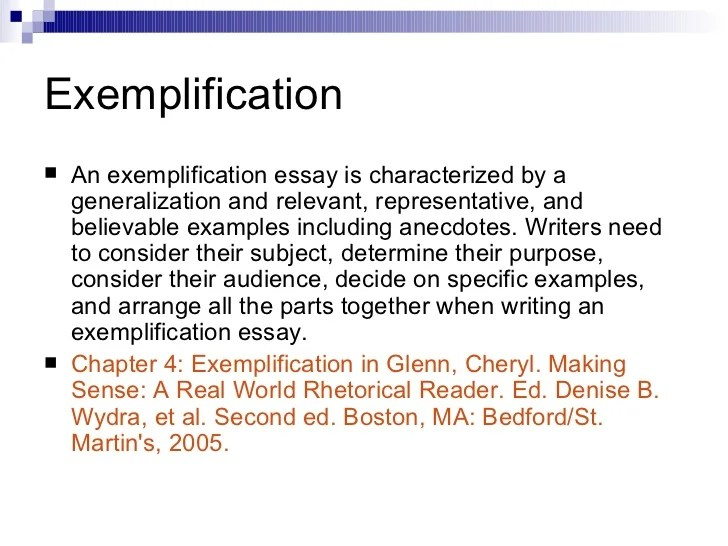 examples of exemplification essays