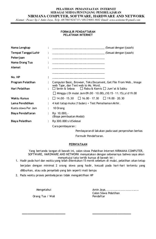 Formulir Pendaftaran Peserta Pelatihan