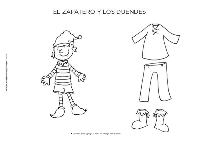 El Zapatero Y Los Duendes Para Colorear