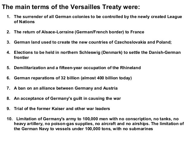 The Fourteen Points and The Treaty of Versailles