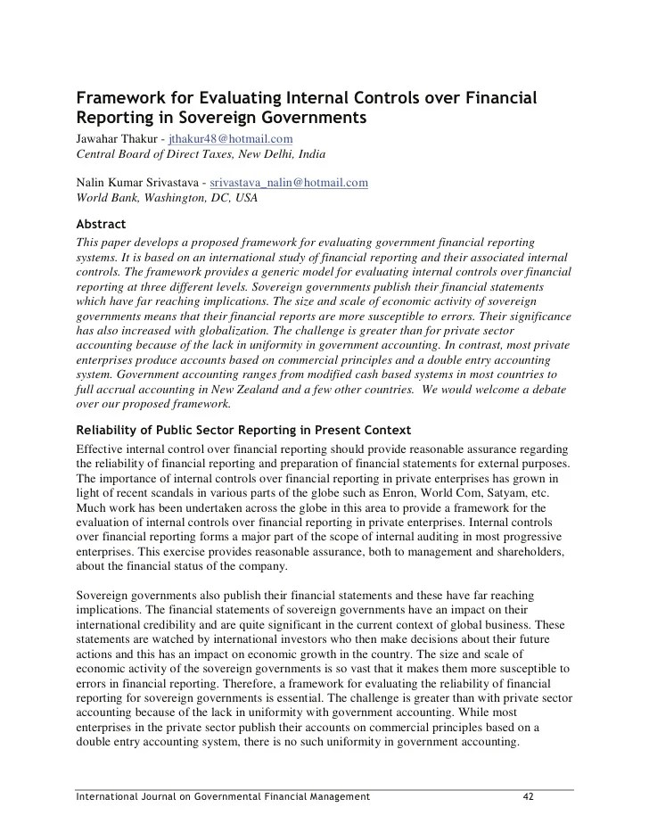 Framework For Evaluating Internal Controls Over Financial