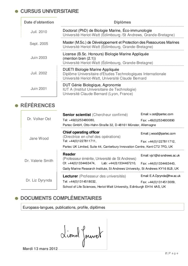 cv francais doctorat