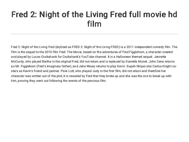 fred 2 night of