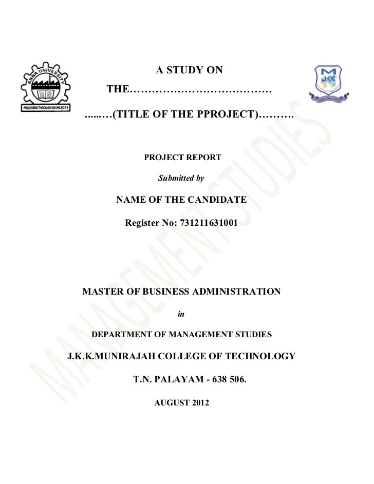 business report title page format