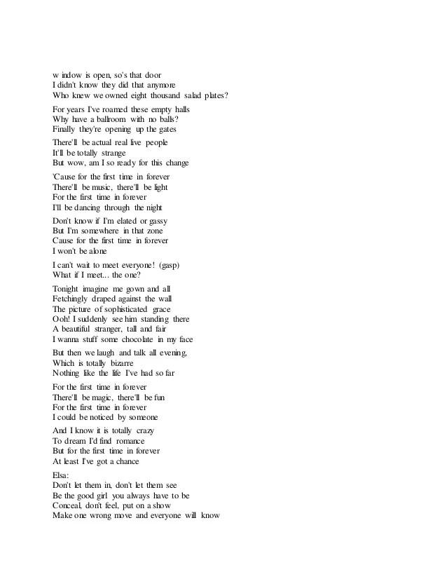 frozen song lyrics
