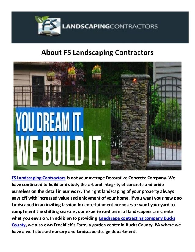 fs landscaping contractors in specialists