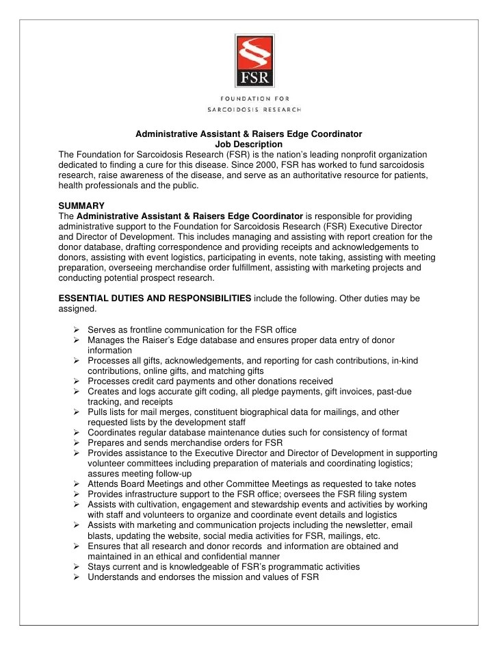 Fsr Admin Raiser's Edge Coordinator Job Description 7 9 12
