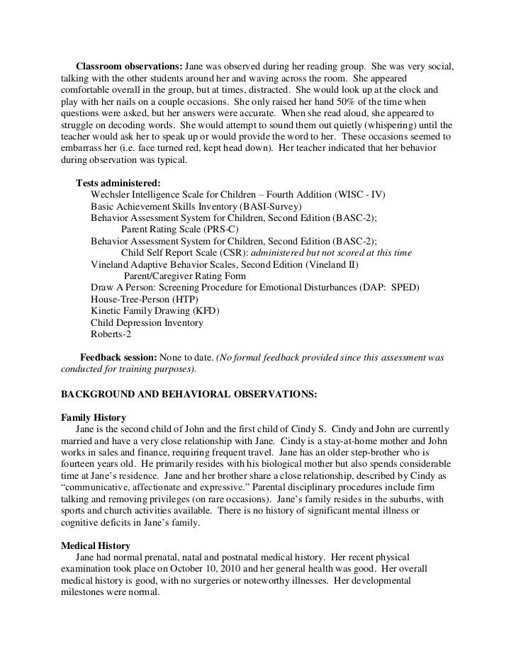 Sample Child Observation Summary Hospi Noiseworks Co