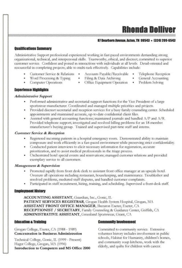 resume examples community involvement