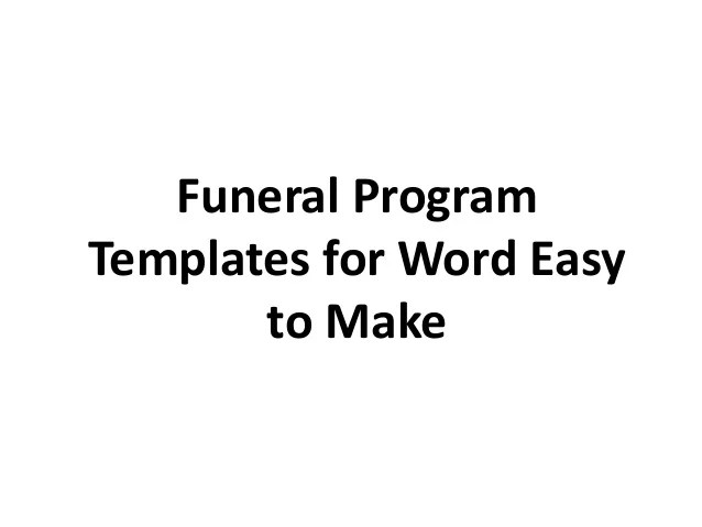 Free Funeral Programs Templates Printable