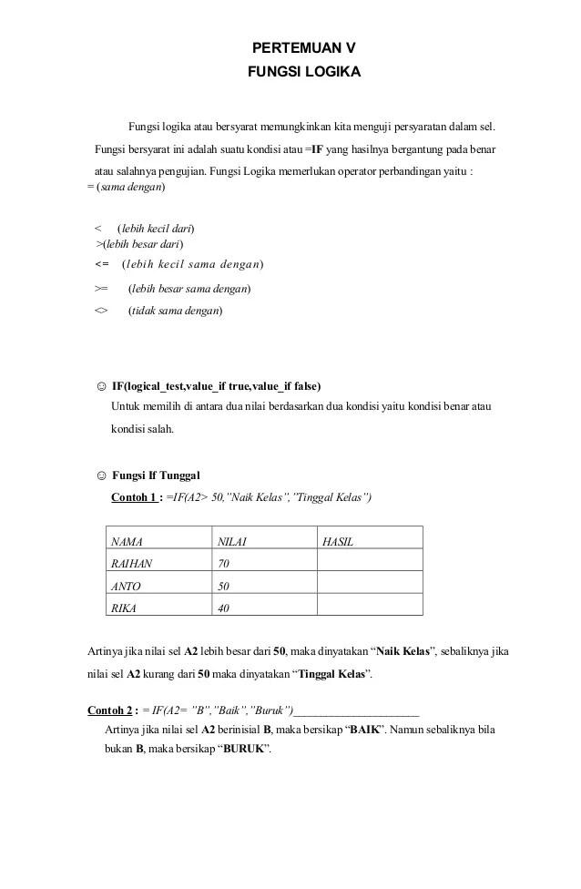 Pengertian dan Cara Menggunakan Fungsi IF Pada Excel