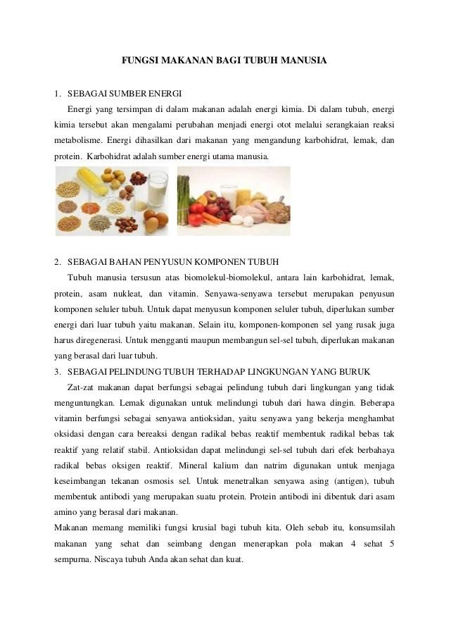 Jelaskan Fungsi Makanan : jelaskan, fungsi, makanan, Fungsi, Makanan, Tubuh, Manusia
