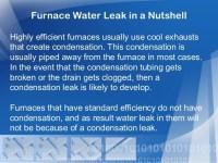 Furnace Water Leak in a Nutshell