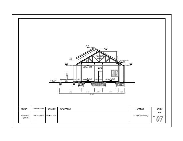 renovasi atap baja ringan rumah tipe 36 gambar kerja minimalis type