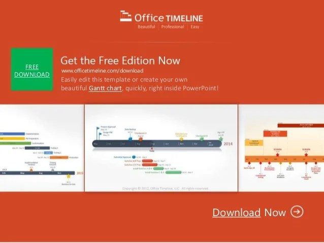 Editable PowerPoint Gantt chart timeline template for project managem…