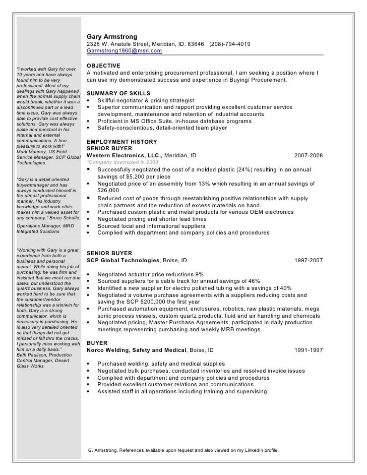 resume examples buyer