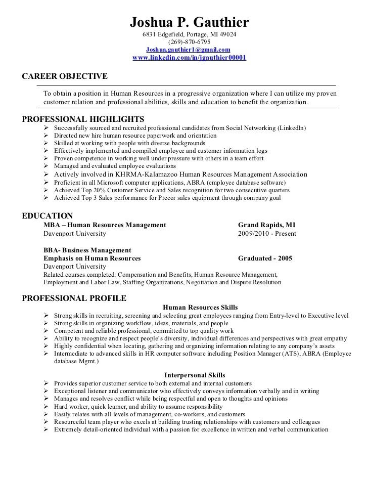 good entry level resume examples entry level human resource - Hr Resume