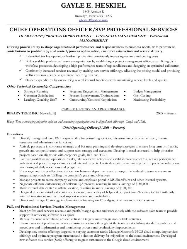 Gayle Heskiel COO VP Professional Services Resume