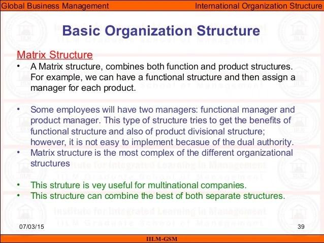International organization structure also gbm unit organizational in business rh slideshare