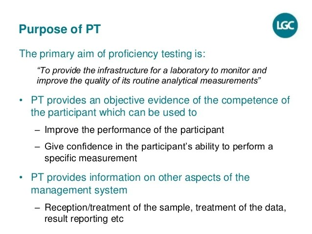 Proficiency Testing PT  a tool to improve laboratory
