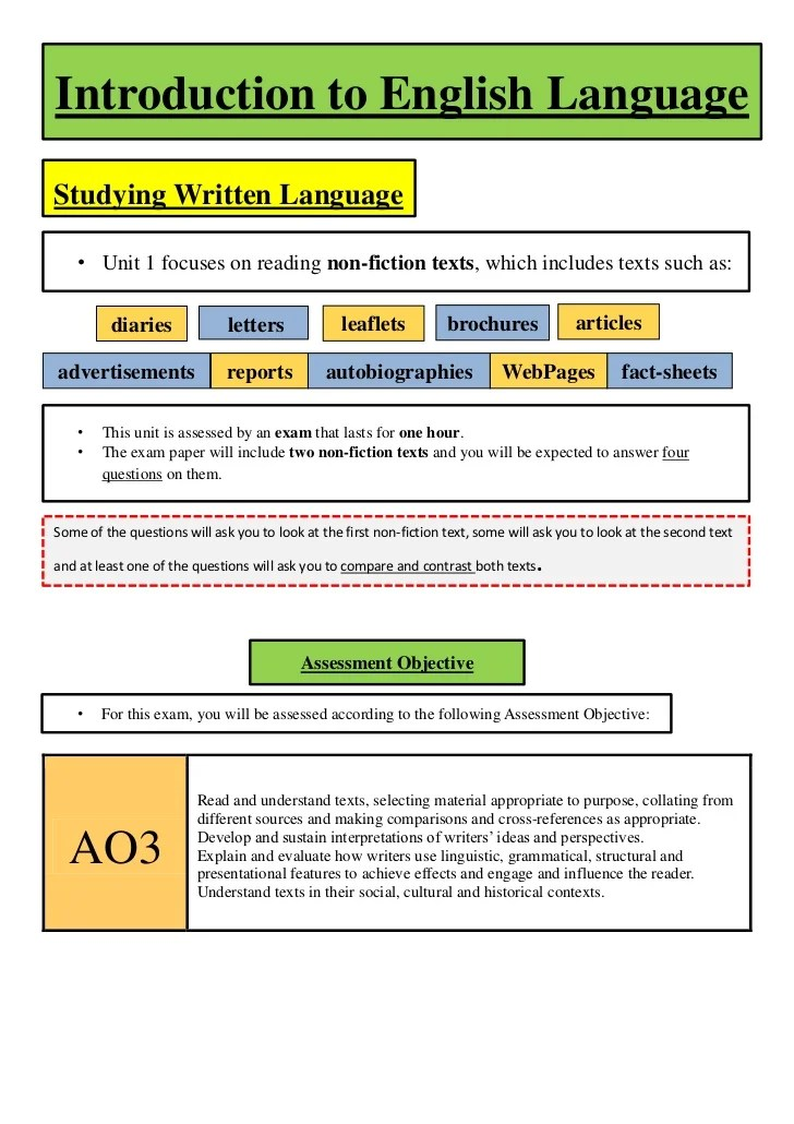 Revision Booklet For GCSE English Unit 1 Exam