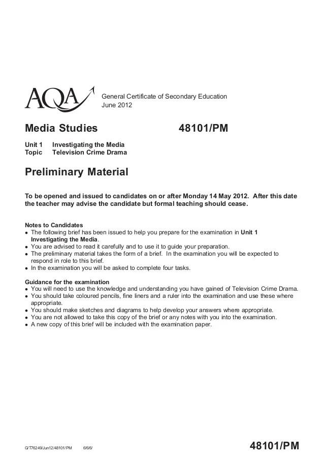 GCSE AQA Media Past Exam Papers