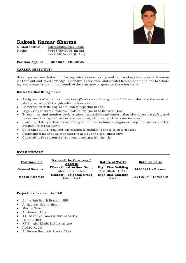 General Foreman Cv Of Rakesh
