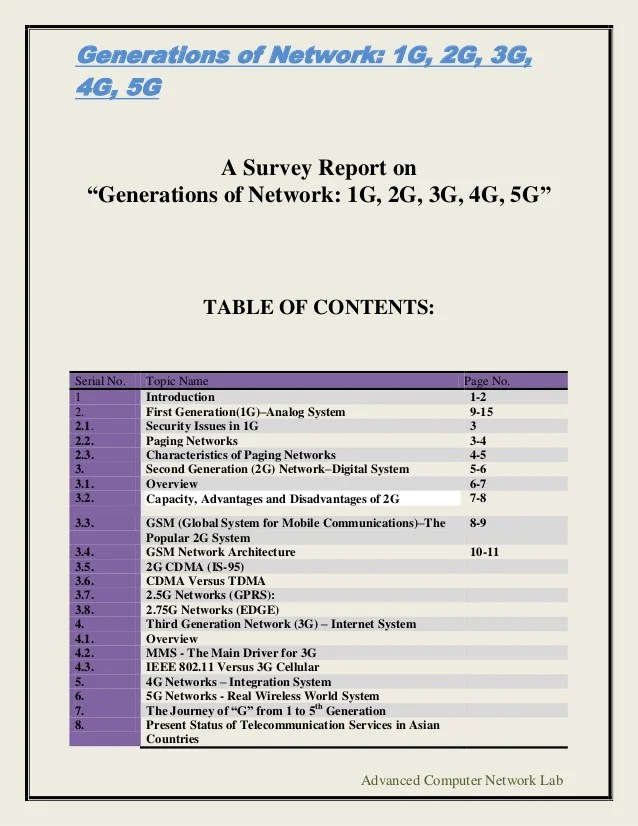 Generations Of Network 1 G 2g 3g 4g 5g